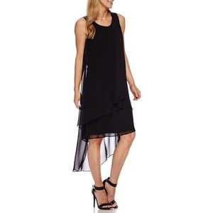 Sharagano Black Chiffon Tier High-Low Dress Size 4